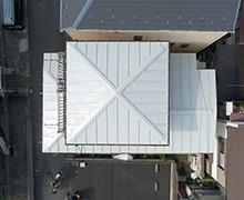 上空真上からの屋根の写真